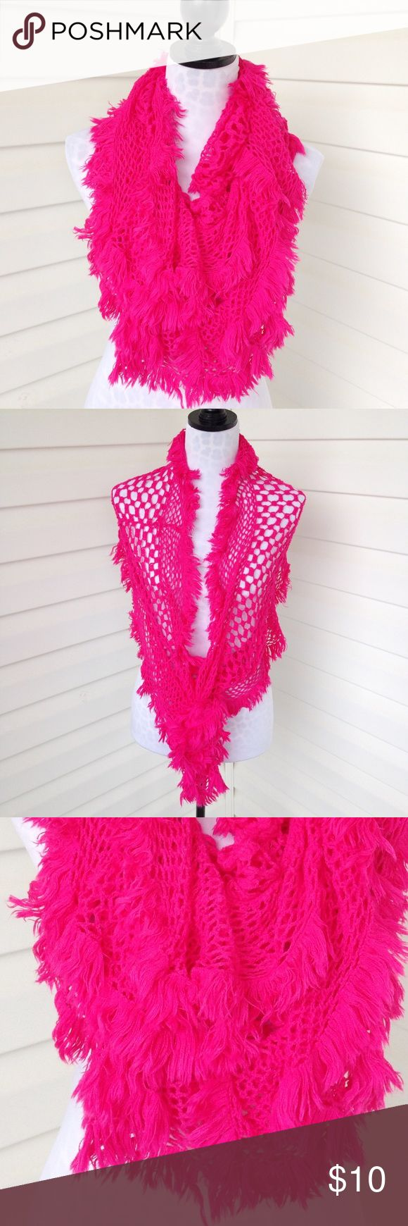 """Stretchy handmade hot pink scarf Stretchy handmade hot pink scarf  Very stretchy Can be double looped and worn around neck or worn over shoulders like a shrug.   Approximate measurements: 45"""" length loosely hanging.   Material unknown but very soft.   No visible flaws. Great condition Accessories Scarves & Wraps"""
