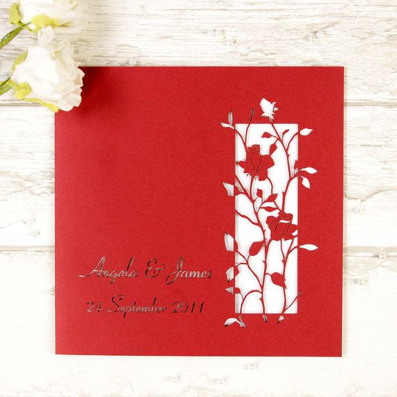 Red Delicate Roses Wedding Day Invitation with Personalisation + Envelopes