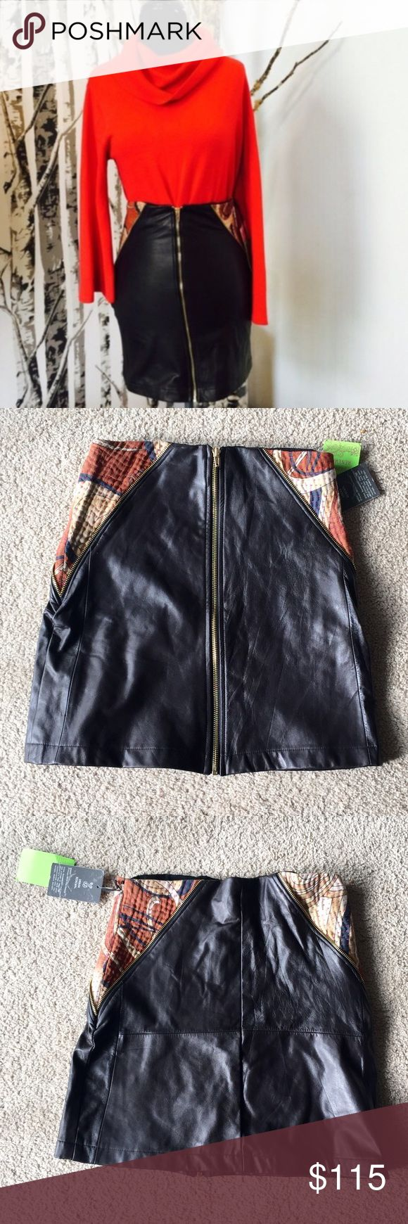❗️1 LEFT Urban Outfitters Leather Skirt NWT $148 ❗️1 LEFT Urban Outfitters Dark Brown Leather zip up Skirt with paisley fabric details on sides. NWT size small retails $148. Feel free to make an offer ;-) I consider all reasonable offers on individual items & great discounts on bundles! Urban Outfitters Skirts