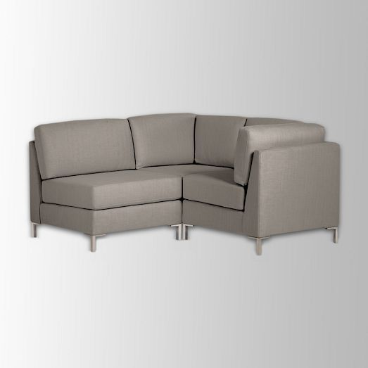 Armless 3 piece mini sectional west elm custom colors for Sectional sofa bed west elm