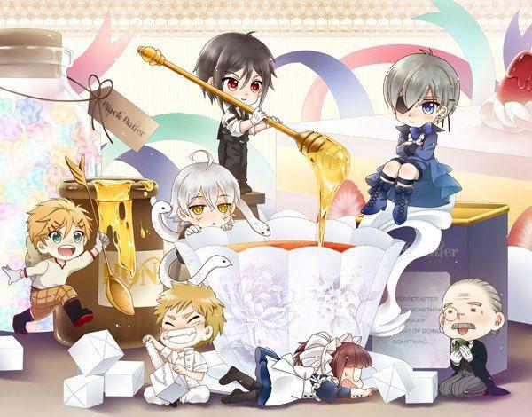 Black butler, Kuroshitsuji, Bardroy, Finnian, Meilin, Tanaka, Snake, Ciel Phantomhive, Sebastian Michaelis