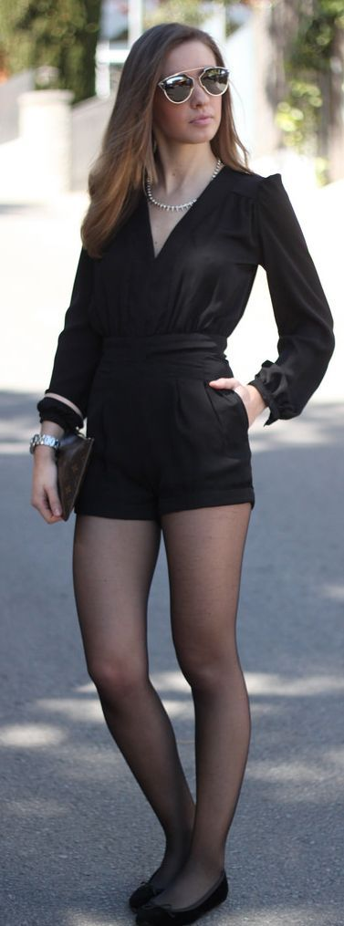 Choies Black Long Sleeve Loose Fit Playsuit by SayQueen- just add some sexy heels instead of flats