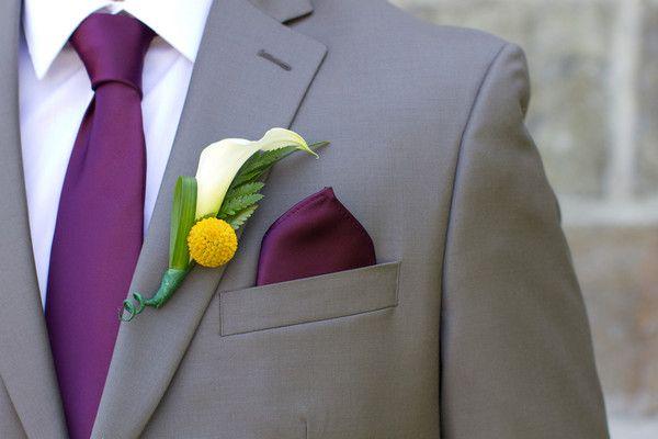 Plum purple & gray-- a classic wedding color scheme. {Photographer: Turnquist Photography, Floral Design: Teddi's Flower Shoppe}