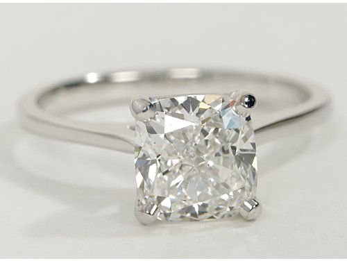 Petite Cathedral Solitaire in 14k White Gold, cushion-cut 2.05 ct. diamond, color: I, Clarity vs1, cut: very good, ~$0.59 per day (for a 55 year marriage).... dream ring, but I love the more rectangular (instead of even) proportions