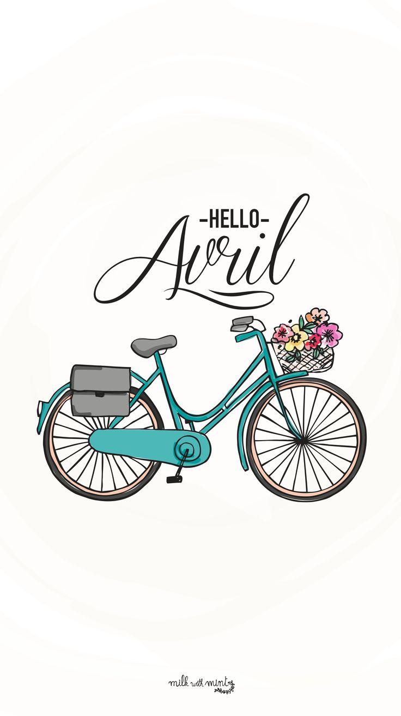 Hello April Bicycle Lock Screen Wallpaper @PanPins