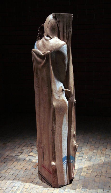 jerzy fober, weronika, 2000, drewno polichromowane