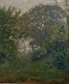 ReinhartDozy(1880-1947) - Eikenbomen met struikgewas  Er is geen signatuur aangebracht. Reinhart Dozy deed dit bijna nooit. De zoon van de schilder Victor A. Dozy heeft na het overlijden van zijn vader bij alle werken een authenticiteitsverklaring opgesteld en deze aangebracht in een envelop aan de achterzijde van het werk. Ook bij dit werk.De verklaring is opgesteld in Elp 12 December 1996.Voorstellende: In de landbouwsstreek ten Oosten van het dorp Elp gelegen was de natuur zo…