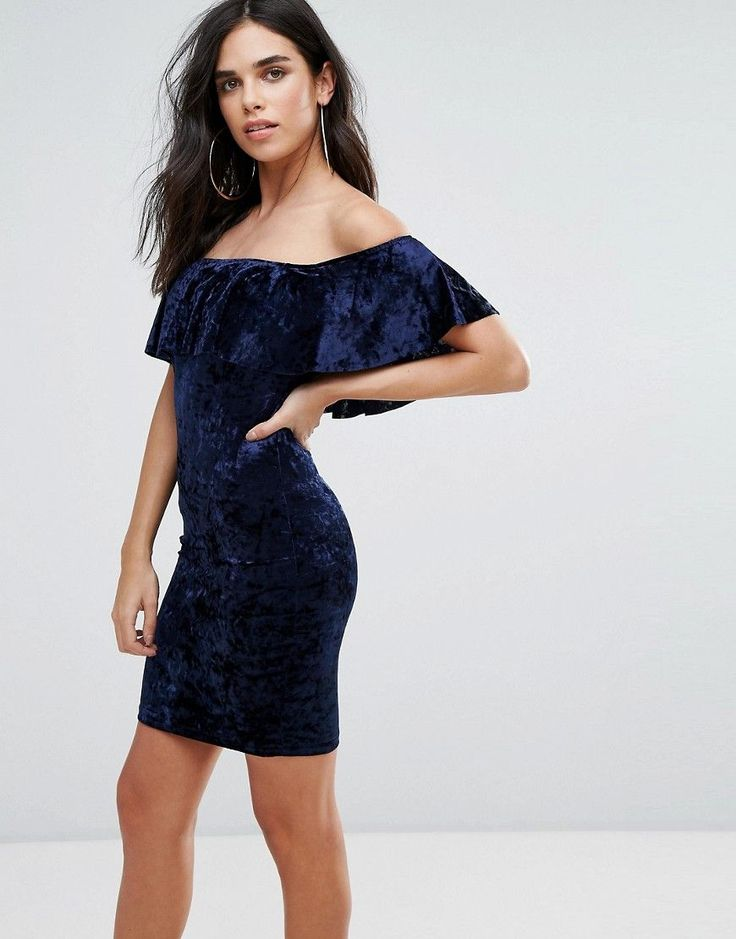 Get this Love & Other Things's midi dress now! Click for more details. Worldwide shipping. Love & Other Things Velvet Midi Dress With Frill Overlay - Navy: Midi dress by Love Other Things, Soft-touch velvet, Bardot neck, Frill overlay, Close-cut bodycon fit, Machine wash, 100% Polyester, Our model wears a UK S/EU S/US XS and is 168cm/5'6 tall. (vestido por la rodilla, rodilla, media pierna, medias piernas, media piernas, medias pierna, medio largo, por debajo de la rodilla, rodillas…