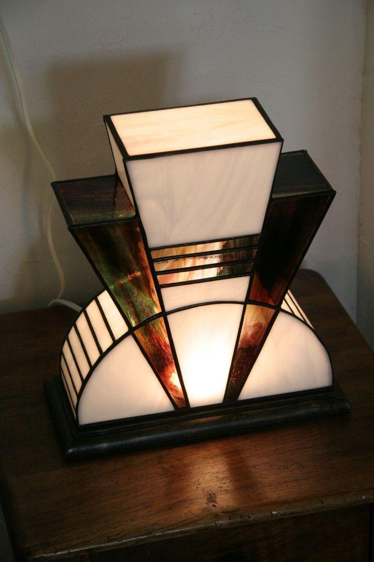 Lampe art déco vitrail tiffany mm