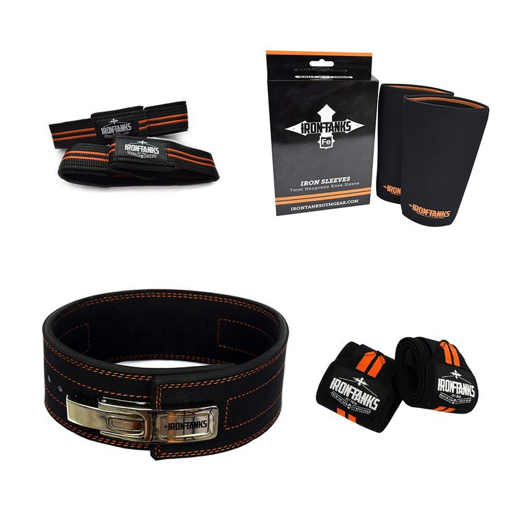 """Life is too short to mess about. You're serious about your training and goals. We're serious about delivering high-end gear to suit, all in the one location. ✔ 10mm Cowhide Leather PL Belt ✔ Iron Knee Sleeves - 7mm Stiff - toughest on the market. ✔ SH 24"""" Wrist Wraps for maximum support ✔ Figure-8 lifting strap - never let fatigue get in the way of a good lift. This kit available ONLY at irontanksgymgear.com Built #Iron Tough."""