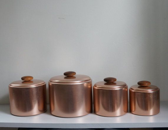 vintage mirro copper colored kitchen canister set set of
