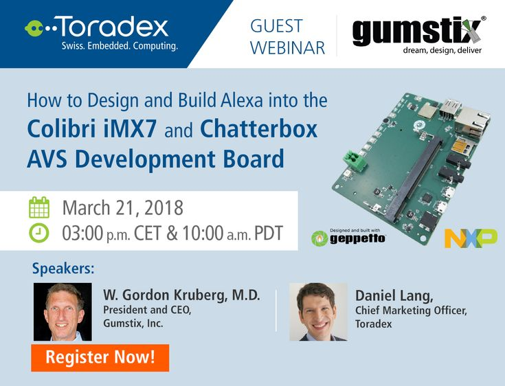 Join us for our upcoming guest webinar with Gumstix on March 21, to learn how to design and build Amazon Alexa Voice Service (AVS) into the Colibri iMX7 and Chatterbox AVS Development Board as a wake-word or push-button activated Alexa device. Get your free registrations now!