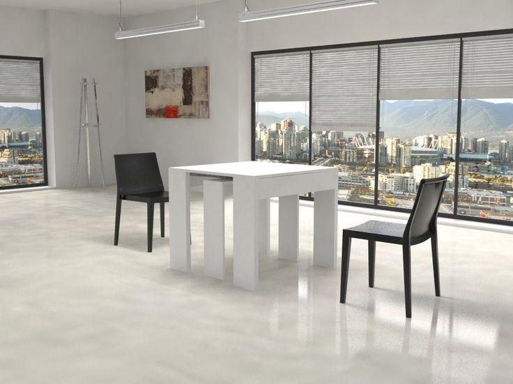 La consolle Giove è semplice, minimale e pratica, si trasforma velocemente da piccolo tavolo d'arredo ad un tavolo da cucina, con lunghezze variabili fino a 290 cm. Le prolunghe sono da 50 cm. Insieme al tavolo vengono fornite la gamba in legno centrale e le prolunghe