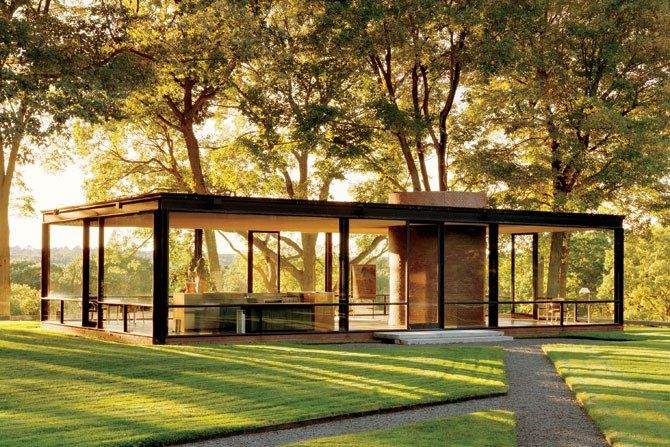 Casa de cristal de Philip Johnson. Architectural Digest