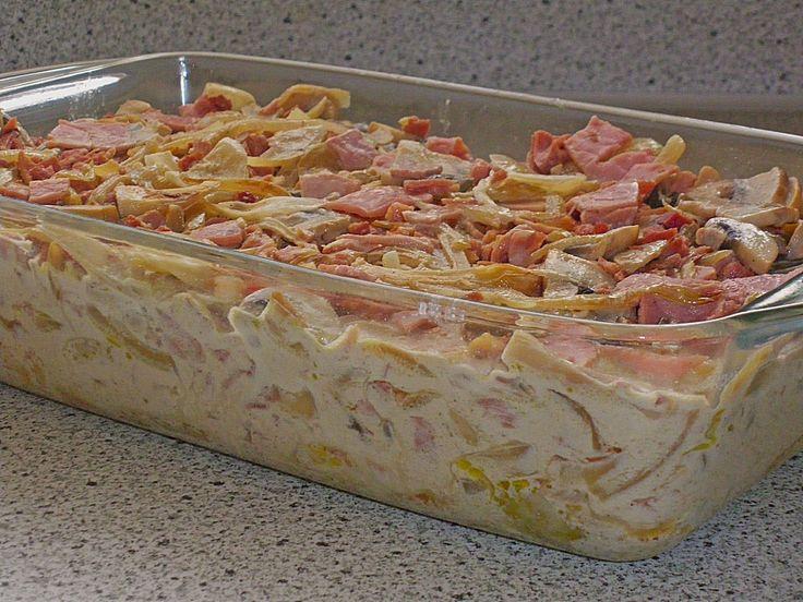 Zutaten    12 Putenschnitzel  750 g Zwiebel(n)  60 g  Butter  1 Glas Pilze (Champignons)  300 g Schinken, gekocht  300 g Schinken,...