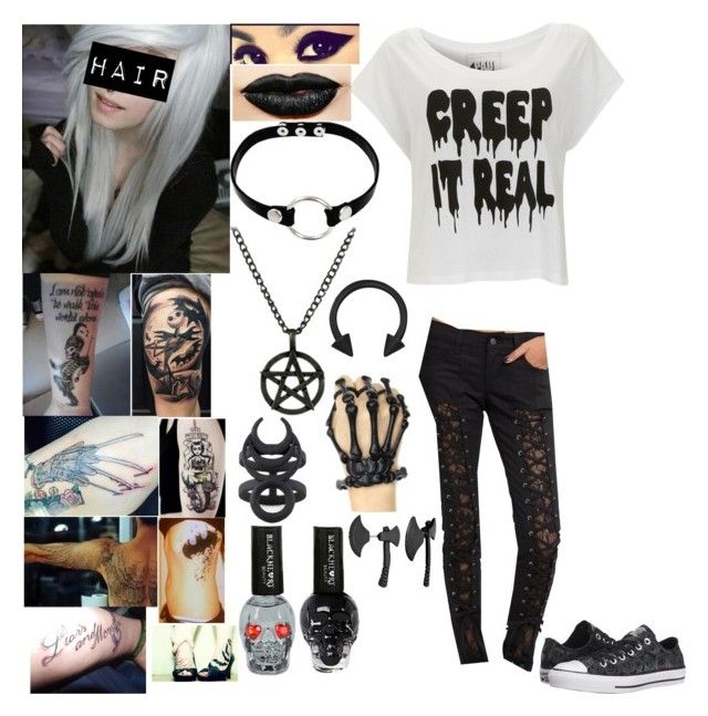 Style #381 by katlanacross on Polyvore featuring polyvore fashion style Paul's Boutique Tripp Converse Fad Treasures Jeffree Star Soma clothing