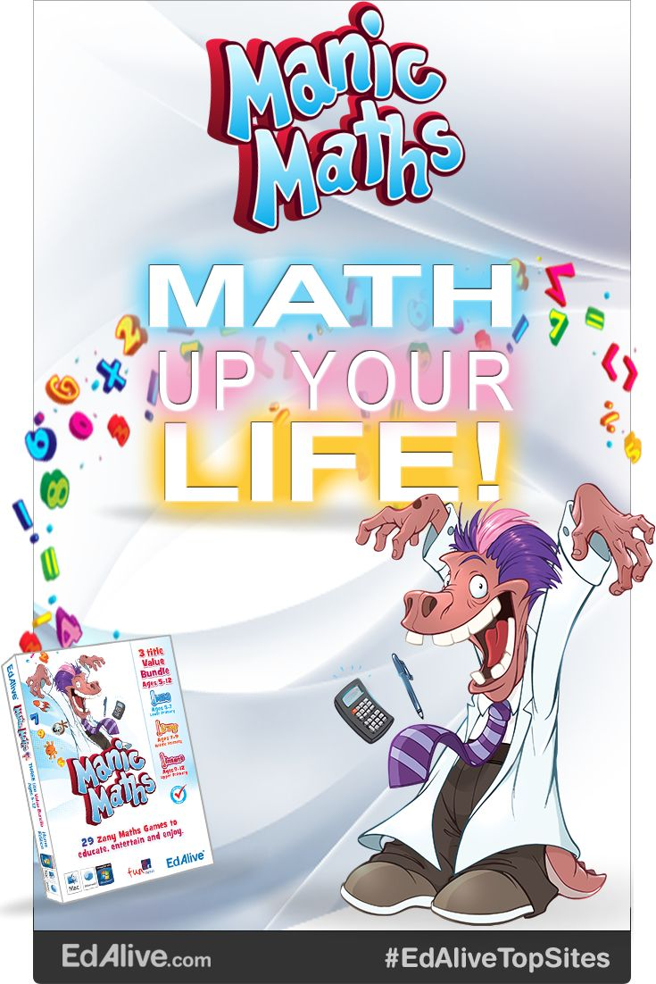 Manic Maths is a crazy-fun collection of high quality, highly entertaining games that will have your students hooked and learning maths without even realising it!  Each of the three titles in the bundle contains 9 or more games that mesh fun and learning in a unique way. The games teach essential maths skills and create a love of learning that will last a lifetime. #Mathematics #EdAliveTopSites