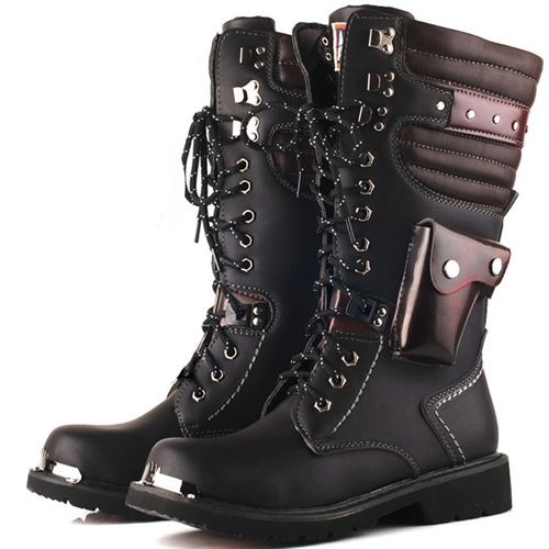 XDIAN™  Fall Winter Retro Cowboy Boots High Boots UK Fashion Wear-resistant Rubber Sole Men's Army Boots