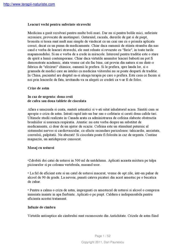Leacuri-Vechi-Pentru-Suferinte-Stravechi  Masaj cu usturoi Infuzie de cimbru Crize de astm Leacuri vechi pentru suferinte stravechi Virtutile antiseptice ale cimbrului sunt recunoscute din Antichitate. Crizele de astm fiind http://www.terapii-naturiste.com Copyright 2011, Dan Paunescu Page 1 / 52