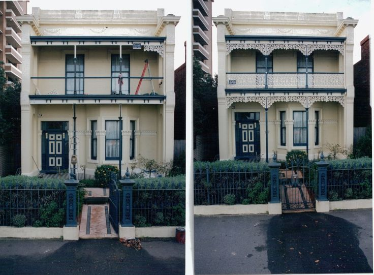 Chatterton Heritage Birdsville Lacework in before and after images,powdercoated,aluminium