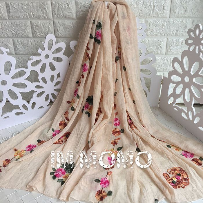 Pure Color Floral Embroidered Scarf and Wrap for Women Ethnic Style Flower Scarves and Shawls for Girls Oblong Flower Scarf