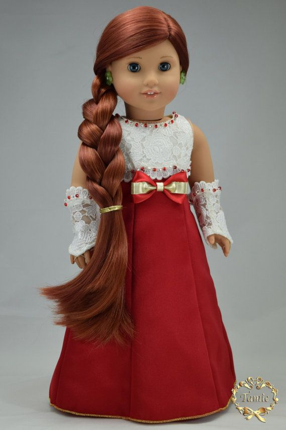 Handcrafted 18 inch girl doll clothes - Luxury Formal full length dress, OOAK (3…