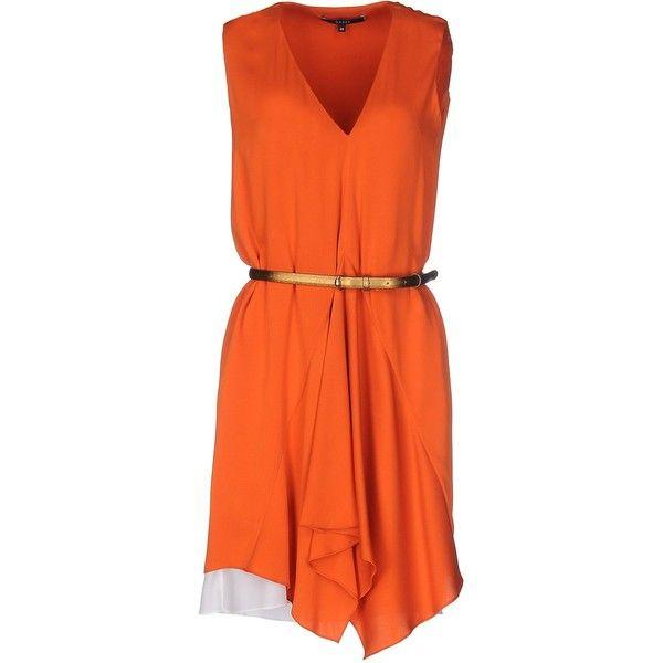 Gucci Short Dress ($1,050) ❤ liked on Polyvore featuring dresses, orange, sleeveless short dress, mini dress, stretch mini dress, no sleeve dress and v-neck dresses