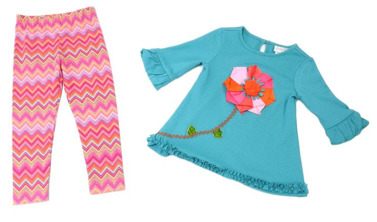 Emily Rose Baby Girl SIze 3T Flower Top/Pant 2-Piece Set, Teal