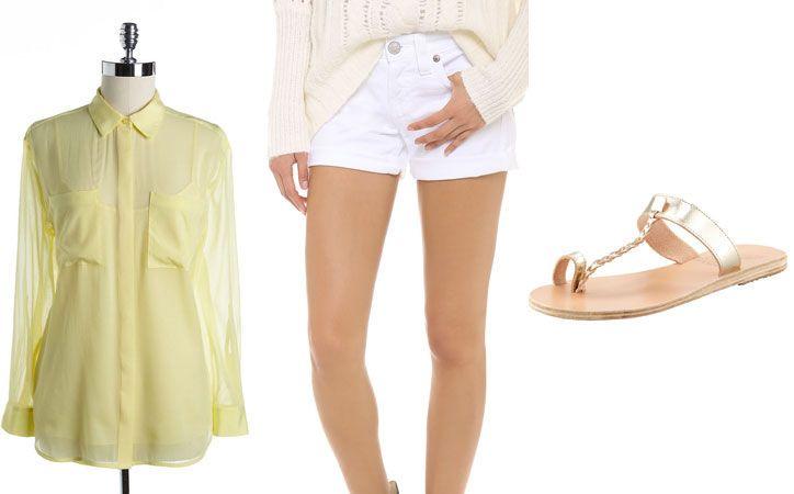 Vacation Outfit Ideas: Warm-Weather Combos DKNY Roll-tab blouse, $59, lordandtaylor.com True Religion Jayde boyfriend shorts, $158, shopbop.com Ancient Greek sandals, $185, bergdorfgoodman.com