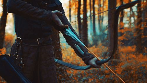 He felt the feathers at the end of the shaft. He was ready. He pulled back his bow and fired.
