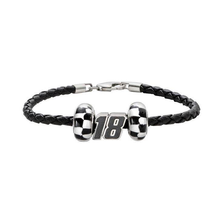 """Insignia Collection Nascar Kyle Busch Leather Bracelet and Bead Set, Women's, Size: 7.5"""", Black"""