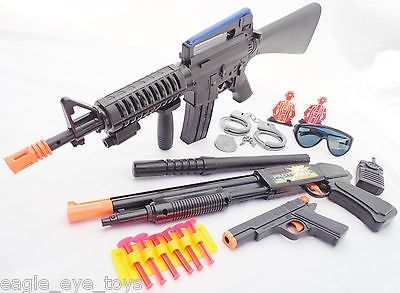 nice 3x Toy Guns M-16 Machine Gun w Sound FX Pump-Action Toy Shotgun & Colt .45 Dart - For Sale Check more at http://shipperscentral.com/wp/product/3x-toy-guns-m-16-machine-gun-w-sound-fx-pump-action-toy-shotgun-colt-45-dart-for-sale/