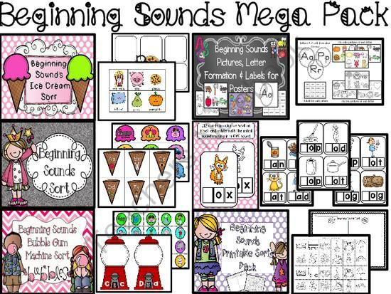 New Teacher's Notebook Shop Giveaway - I just opened my Teacher's Notebook shop and would like to celebrate with my first giveaway!  I'll pick two people to win my Beginning Sounds Mega Pack.  Good Luck!.  A GIVEAWAY promotion for Beginning Sounds MEGA Pack (CCSS) from Sparkling in Kindergarten on TeachersNotebook.com (ends on 3-19-2014)