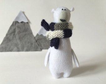 Felt Polar Bear With A Scarf, Felted Miniature Animals, Felted Polar Bear Toy, Felt Animals, Teddy Bear, Stuffed Miniature Bear