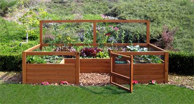 a gated vegatable garden in the back yard. Beds are raised for easy maintenance and you get fresh veggies all spring/summer - how awesome!