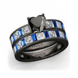 Jeulia Heart Cut Created Black Diamond Wedding Set