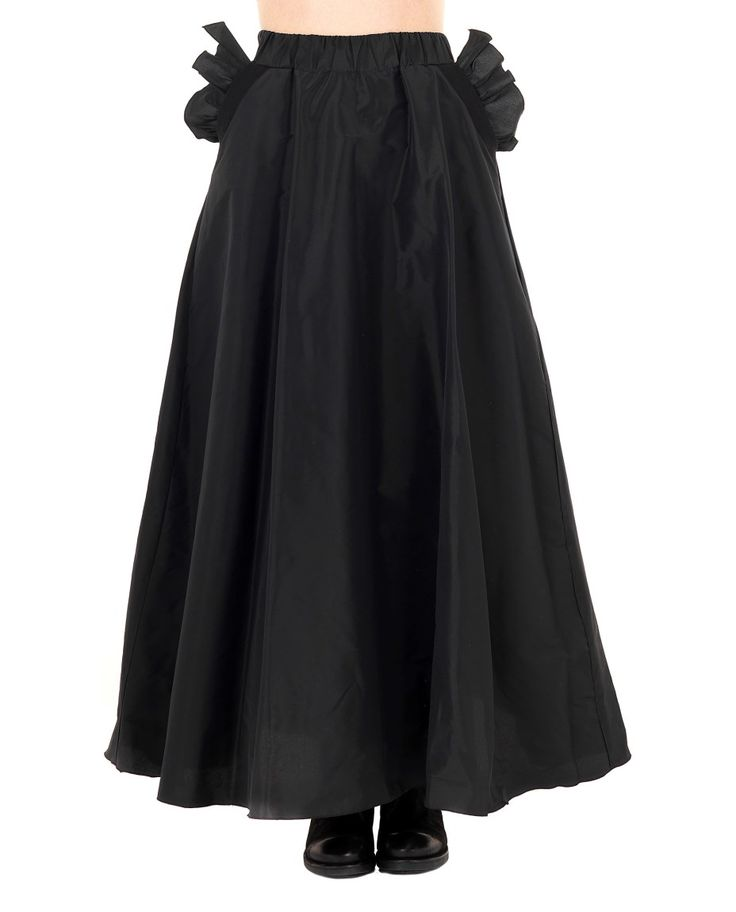 DOMENICO CIOFFI LONG SKIRT WITH RUFFLES S/S 2016 Black long skirt  ankle lenght  elastic waist band  two back buttons and zip  ruffled side pockets  75%AC 25% PL