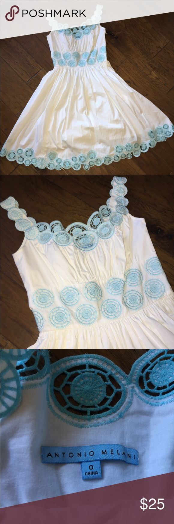 Antonio Melani White Summer Dress - Sz 0 Crisp white dress with pastel blue accents. It accentuates the waist and the skirt falls so pretty! ANTONIO MELANI Dresses