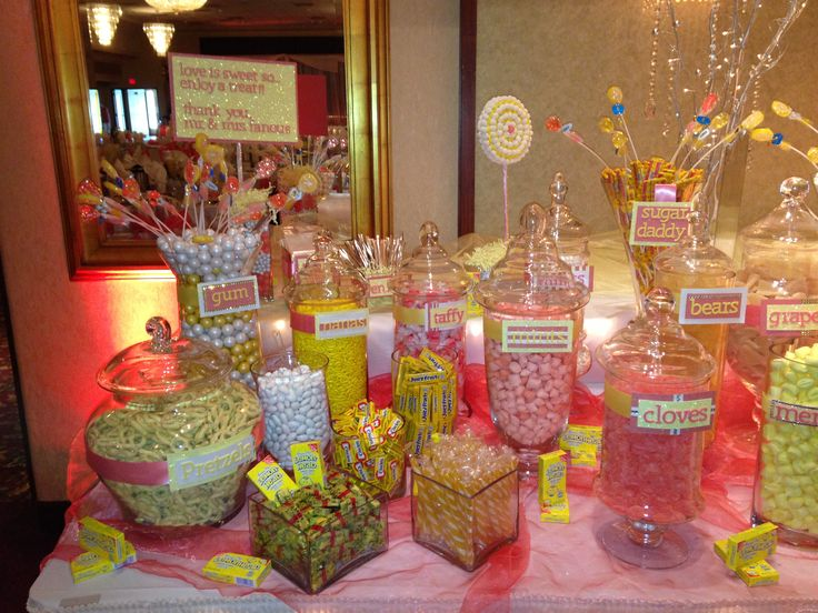yellow and coral wedding candy bar