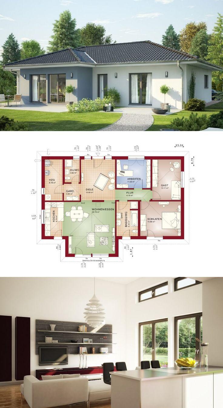 Bungalow Haus mit Walmdach - Grundriss Einfamilienhaus Evolution 111 V6 Bien Zenker Fertighaus - HausbauDirekt.de