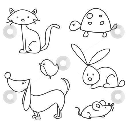 Hand drawn cartoon pets stock photo, Hand drawn cartoon pets, vector ...