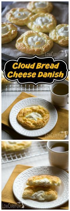 An egg fast friendly cloud bread cheese danish recipe that's super low in total carbs. It's a nice low carb treat to enjoy any time of day.   http://LowCarbYum.com