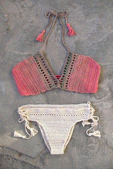 Crochet bikini set with tassels, Boho Crochet bikini top, Crochet bikini bottom, Brazilian bikini, Salmon, camel cream beachwear, Sexy top by MarryG on Etsy