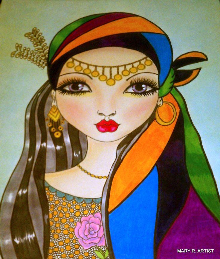 BIG EYES ART # MIXED MEDIA # FACE ART  # WHIMSY GIRL  # WHIMSICAL ART