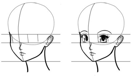 Mouth and neck drawn on anime heads