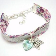 Bracelet liberty argent enfant en tissu pour fillette papillon coeur nacr bracelet m re - Tissu pour bracelet liberty ...