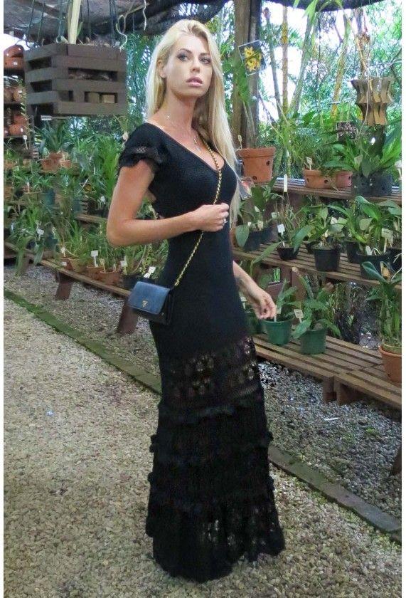 Vestido-Trico-Longo-Romantic-Preto | Galeria Tricot - Galeria Tricot