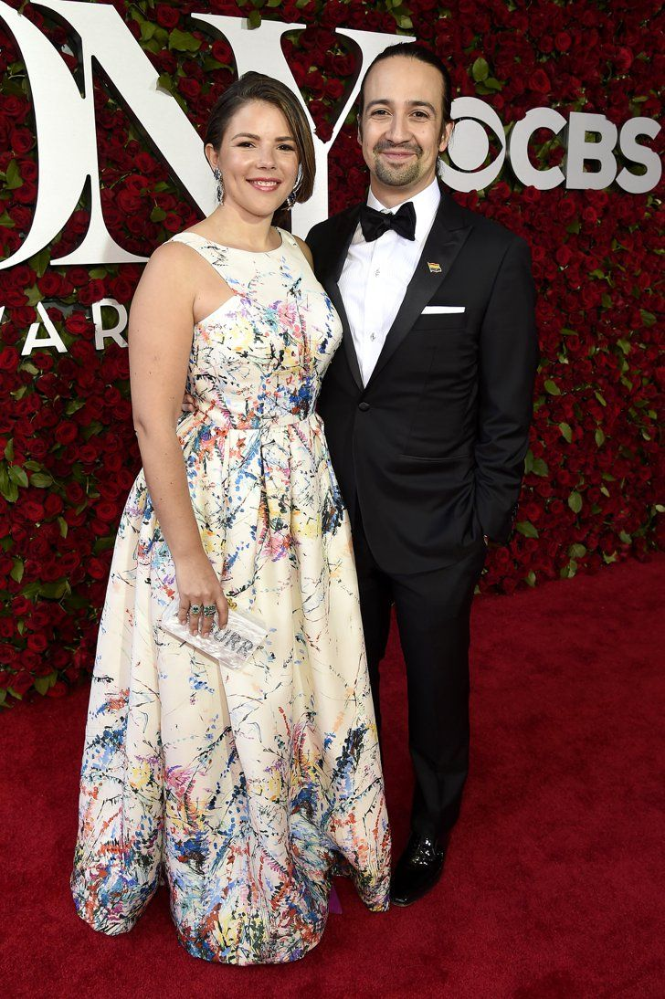 Pin for Later: It Wouldn't Be the Tony Awards Red Carpet Without a Hunky Lin-Manuel Miranda Appearance  With wife Vanessa Nadal, who wore a custom Cenia dress.