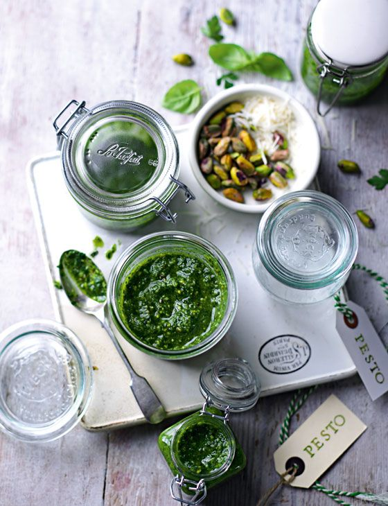 Pistachio pesto - delicious stirred into freshly cooked spaghetti. http://www.sainsburysmagazine.co.uk/recipes/sides/sauces/item/pistachio-pesto