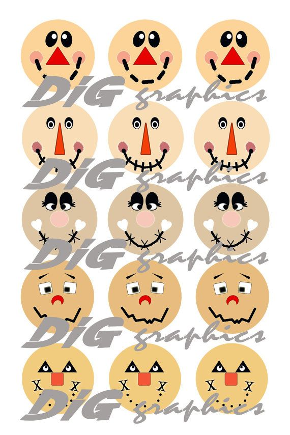 DIGITAL Bottlecap Images-Scarecrow Faces by GraphicsDig on Etsy